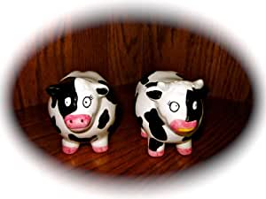 """Set of Ceramic Cow Salt & Pepper Shakers (Approx 3"""" Tall)"""
