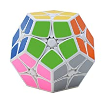 Qm-h Magic cube of Irregualr Cube Smooth 2x2 Megaminx Puzzle Sticker Cube White