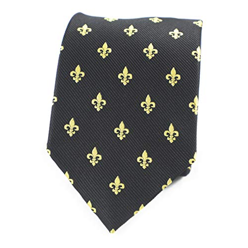 MENDEPOT Gold Fleur De Lis Pattern Black Necktie With Box Fleur De Lis Pattern Tie