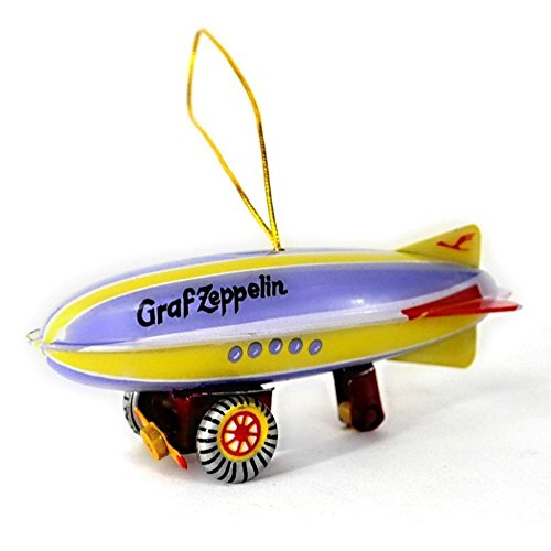 (TIN TOY CHRISTMAS TREE ORNAMENT 12 Designs NEW Vintage Style Metal Collectible (Zeppelin- Blimp))