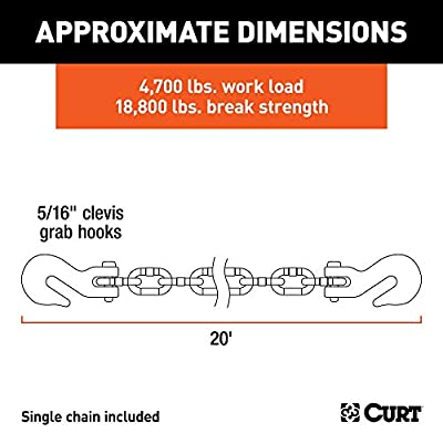 CURT 80307 20-Foot Trailer Safety Transport Tie-Down Load Binder Chain, 5/16-Inch Clevis Hooks, 18,800 lbs. Break Strength: Automotive
