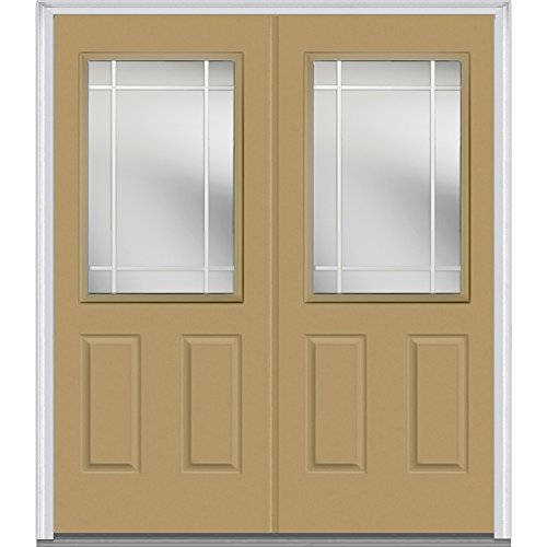National Door Company Z005560L Fiberglass, Sandal Left Hand/In-swing, Exterior Prehung Double Door, Internal Grilles 1/2 Lite 2-Panel, 64''x80'' by National Door Company