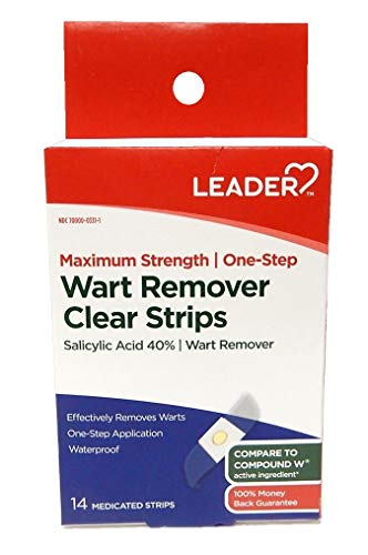 Leader Maximum Strength One-Step Wart Remover, 14 Clear Strips