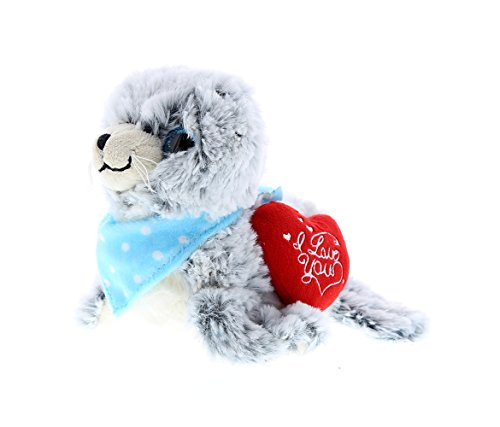 Dollibu Sea Lion I Love You Valentines Stuffed Animal - Heart Message - 9 inch - Wedding, Anniversary, Date Night, Long Distance, Get Well Gift for Her, Him, Kids - Super Soft Plush