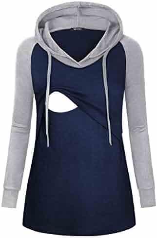 e0c42666341 Quinee Womens Raglan Sleeve Nursing Hooded Sweatshirts for Breastfeeding