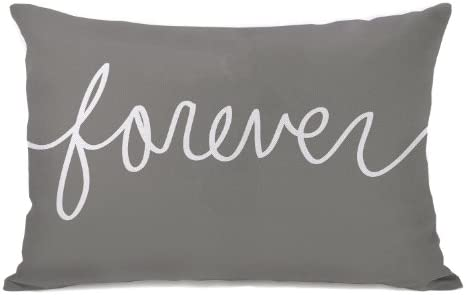 One Bella Casa Forever Mix Match Throw Pillow by OBC, 14 x 20 , Gray White