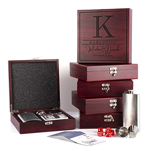 Lily's Atelier – Set of 6 Personalized Flask Gift Set | Groomsmen Rosewood Gift Box with Playing Card Deck, Flask, Steel cup, Dice and Funnel D-7 (Cards Favors Wedding Playing Personalized)