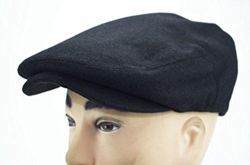 Black Solid Color Cabbie Paperboy Driving Ivy Dress Pub Golf Casual Hat Cap