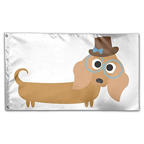 (Colby Keats Weiner Dog Garden Lawn Flags Indoor Outdoor Decoration Home Banner Polyester Sports Fan Flags 3 X 5)