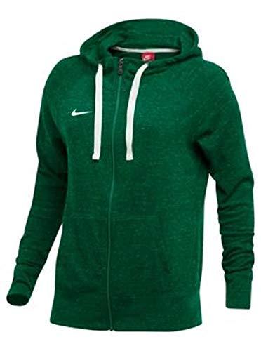 Nike Womens Gym Vintage Full Zip Hoodie (TM Dark Green/TM White, Medium)