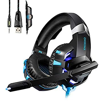 Auriculares Gaming Cascos con Microfono HUOU Cascos Gaming con Luz LED para PS4 / PC /