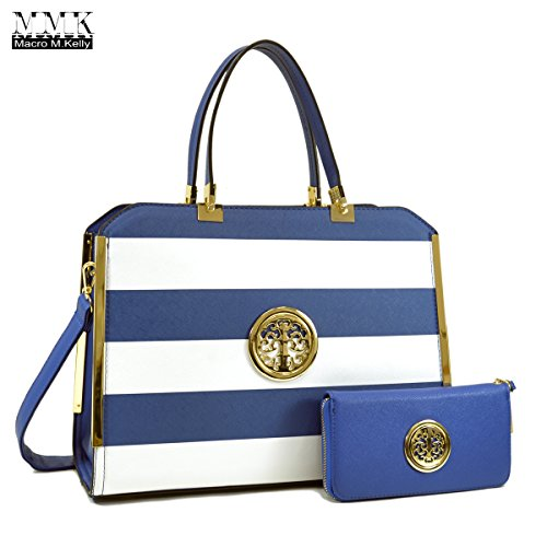 MMK collection Women Fashion Matching Satchel handbags with wallet(690-BL/WT)