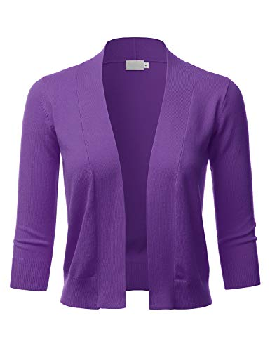 LALABEE Women's Classic 3/4 Sleeve Open Front Cropped Bolero Cardigan-Ultraviolet-M