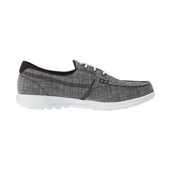Skechers Women's Go Walk Lite-15433 Boat Shoe Black/White 5 B(M) US