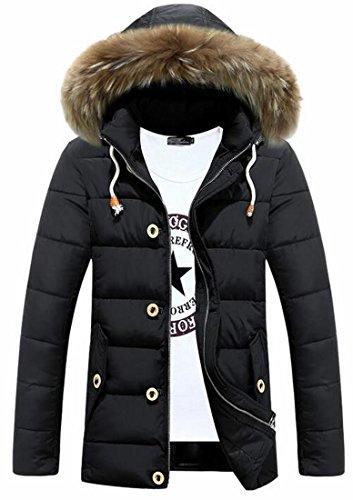Oggi Nero Pelliccia Parka Di Cappuccio Cappotto uk Outwear Mens Giacca Finta 4vqB4r7