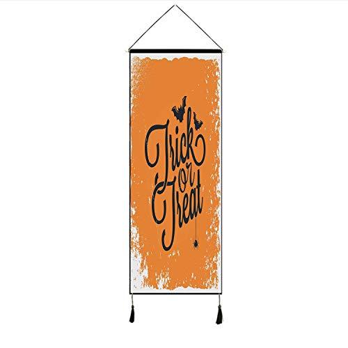 C COABALLA Vintage Halloween Stylish Hanging Poster,Trick or Treat Halloween Theme Celebration Image Bats Tainted Backdrop Decorative for Living Room Bedroom,17.7