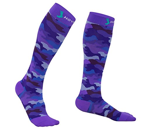 Most Popular Camo Print 20-30 mmHg Running and Sports Compression Socks for Men & Women, Recovery Fast (X-Large, Camo purple)
