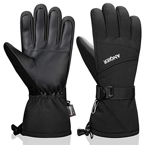 Anqier Waterproof Mens Winter Gloves Thermal Ski Gloves 3M Thinsulate Warm Snowboard Cold Weather Gloves for Men Women (Black, X-Large)