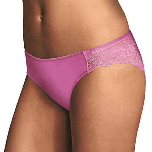 Maidenform Women's Comfort Devotion Lace Back Tanga Panty, Purple Rose/Glitter Pink 7