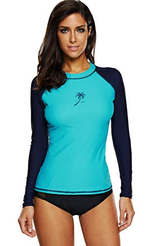 ATTRACO Womens Rashguard Swimsuit Rash Guard Swim Shirts Swim Rashguard,Large,Aqua Navy (Best Surf Spots In Mexico)