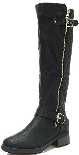 DREAM PAIRS UTAH Women's Quilted Zipper Double Buckles Accent Round Toe Low Stacked Heel Riding Knee High Boots (Wide Calf Available)