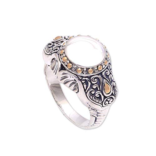 NOVICA 18k Yellow Gold Plated .925 Sterling Silver Signet Ring, Watch My Back' from NOVICA