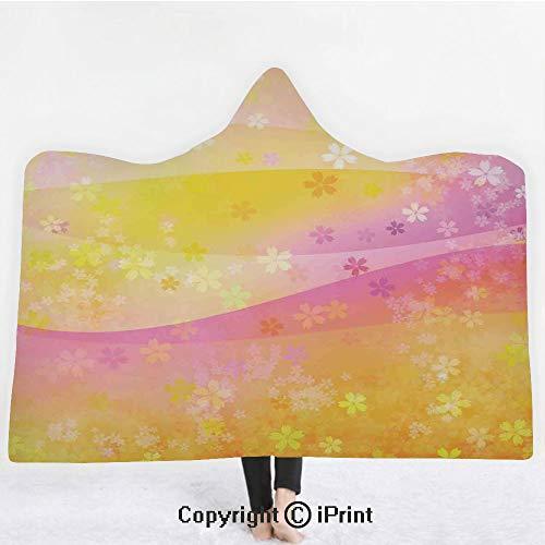 House Decor 3D Print Soft Hooded Blanket Adult Premium Throw Blanket,Lightweight Microfiber,Cherry Blossom Pattern Wavy Background Romantic Decorating Design Illustration,All Season for Adult(60