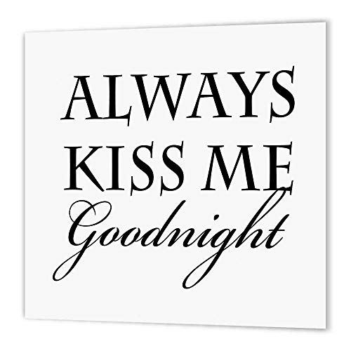 3dRose ht_155852_1 Always Kiss Me Goodnight Typography Romantic-Iron on Heat Transfer Paper for White Material, 8 by 8-Inch (Best Good Night Photos)