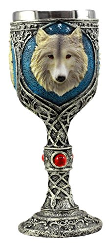 Atlantic Collectibles Blue Remus Gray Wolf Celtic Magic 7oz Wine Chalice Goblet Cup