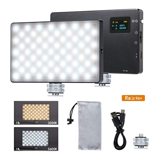 LED Video Light LituFoto N126 Photography Light Camera Light 126pcs Bi-Color Beads OLED Display Screen with Built-in Lithium Battery for Video Shooting on Cameras and Smartphones