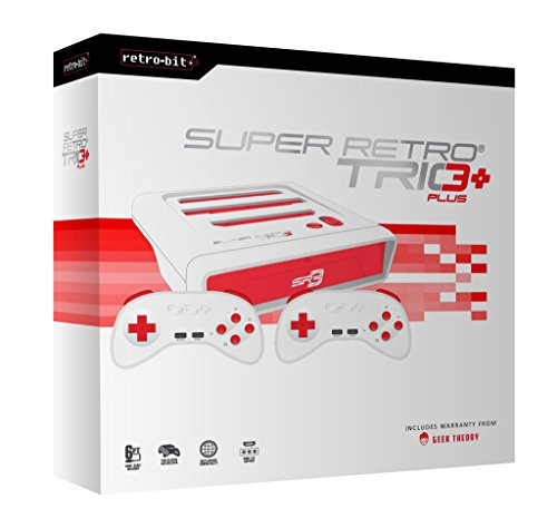 Retro-Bit Super Retro Trio HD Plus 720P 3 in 1 Console System (2019) Bundle with 1-Year Warranty from Geek Theory - for NES, SNES, and Sega Genesis Original Game Cartridges - Red/White