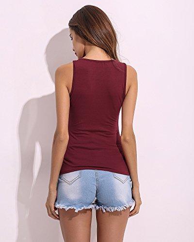 StyleDome - Camisas - Sin mangas - para mujer rojo vino