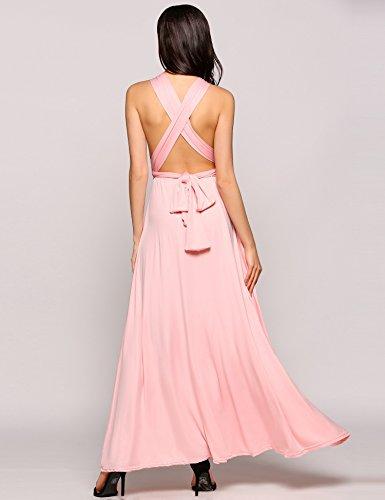 Teamyy Vestido largo de fiesta sin mangas vestido de vendaje sin espalda para las mujeres Rosa