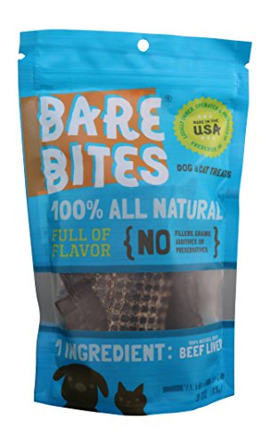 Bare Bites 100% All Natural Dried Beef Liver Dog and Cat Treats, 3 Ounces