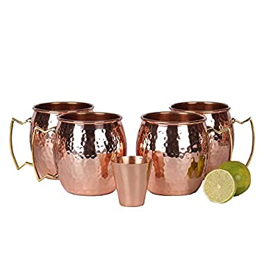 A29 Moscow Mule 100 % Solid Pure Copper Mug / Cup (16-Ounce / Set of 4, Hammered) with BONUS Shot Glass and Free Recipe Booklet