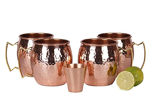 A29 Moscow Mule 100 % Solid Pure Copper Mug / Cup (16-Ounce / Set of 4, Hammered) with BONUS Shot Glass and Free Recipe Booklet (Rum Cup)
