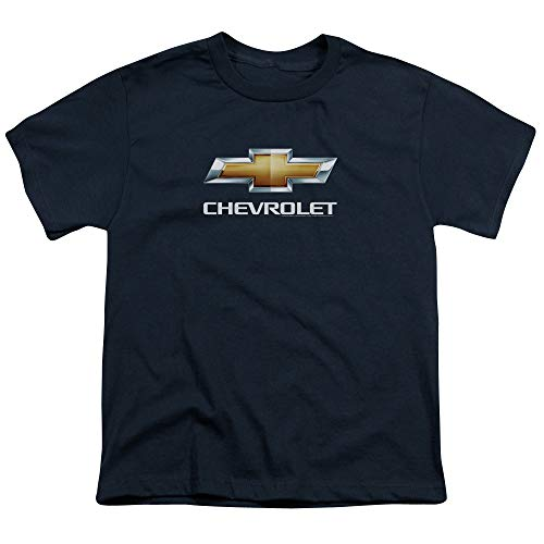 (Chevrolet Chevy Bowtie Stacked Youth T-Shirt (Ages 8-12) M Navy Blue)