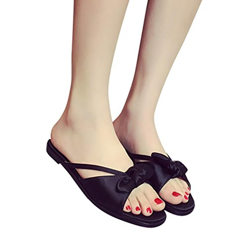 Baomabao Femmes Sandales Basses Bowknot Chaussures Dété Flip Flops Noir