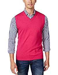 Mens Heartland V-Neck Sweater Vest Cherry Pink