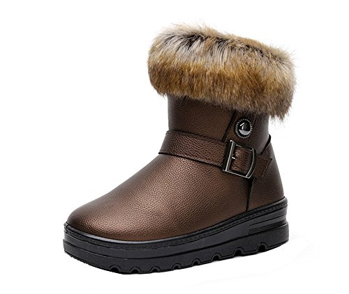 Gaorui Mode Kunstleer / Bont Gevoerde Winter Warme Vrouwen Gesp Enkel Snowboots Schoenen Bruin