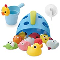Freestanding Bath Toy Organizer Bath Caddy with Scoop for Toddlers Baby -Blue