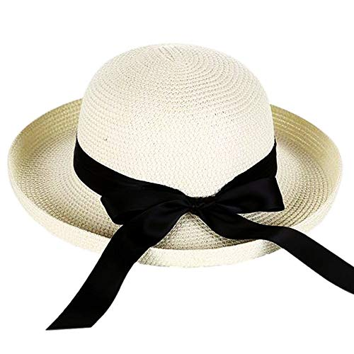 Andy&Esther Hand-Weaved Turn up Brim Beach Hat UPF50 Sun Hat for Women Straw Hat (White)