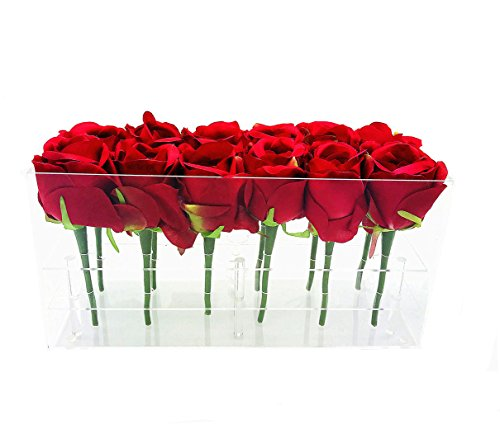 Greatpril Acrylic Flower Pot Wedding Flower Holder Multifunction Rose Water Holder Eyeliner (Multifunction Rose)