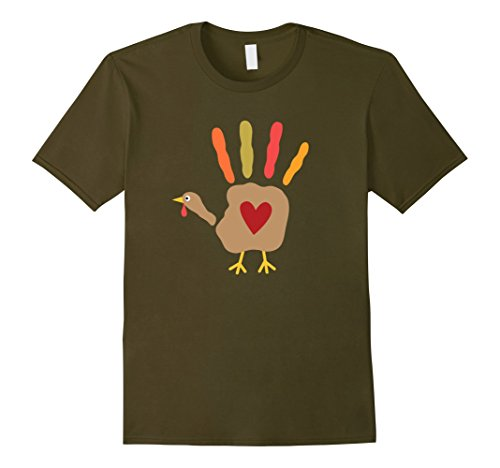 Mens Turkey Hand Print Cute Thanksgiving T-Shirt Medium Olive