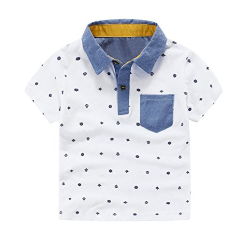 EFINNY Toddler Kids Boys Lapel Stand Collar Fish Printed Summer Casual Polo Tee Tops