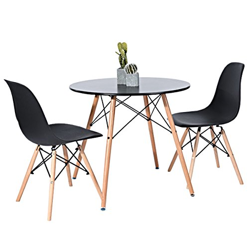 Kitchen Dining Table Round Coffee Table Black Collection Modern Leisure Wood Tea Table Office Conference Pedestal Desk (Large Set Round Dining)