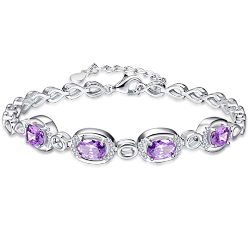 BONLAVIE Women s Solid 925 Sterling Silver Oval Cut Cubic Zirconia Birthstone Link Chain Bracelet 6.89