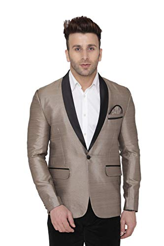 WINTAGE Men's Polyester Casual and Festive Blazer Coat Jacket : Golden, X-Large