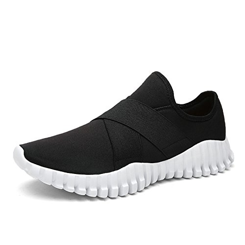 Tanly Women's Flex Comfort Slip On Walking Shoes Lightweight Fashion Sport Running Sneakers Black