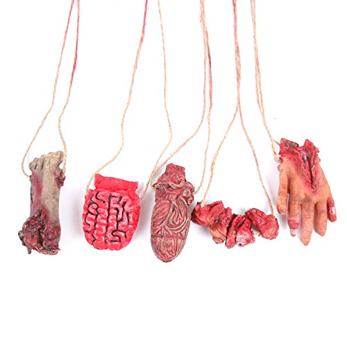 Sweet Devil Scary Bloody Broken Fake Body Parts Halloween Props Decorations,Necklace